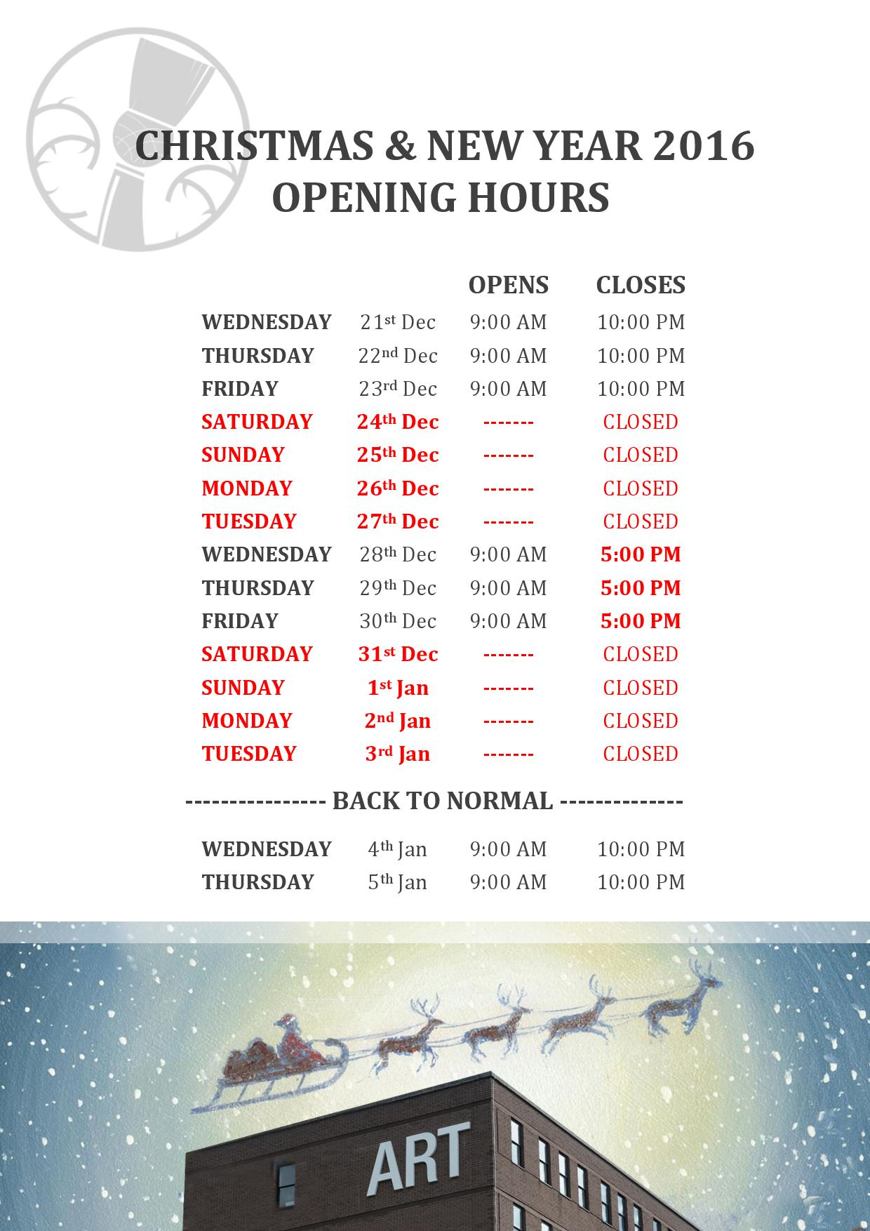 Important Reminder Christmas Opening Hours Edinburgh