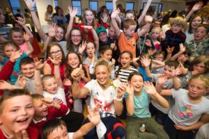 Image of Sally Conway, Olympic Bronze medallist with EdinburghJudo children.