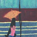 Man with dry umbrella