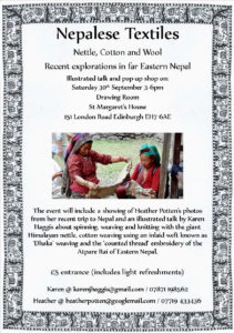 Nepalee textiles event, 30th Sept, the Drawing Room