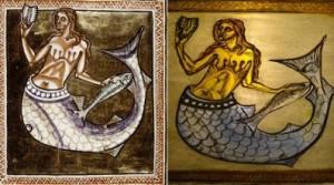 Mermaid painted on glass