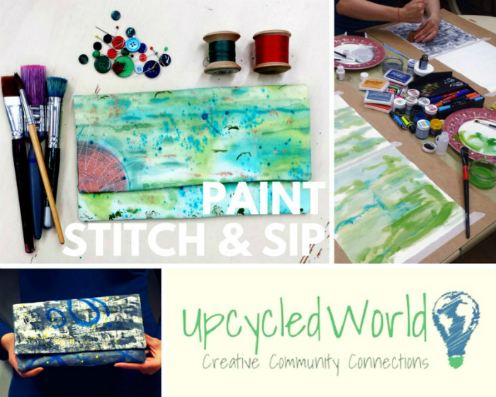 Paint Stitch & Sip – Design Your Own Fabric & Make A Clutch Bag!