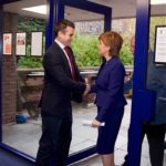 Josh, the chairman of Edinburgh Palette, greets Nicola Sturgeon