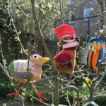 Waxwing, Kingfisher and Bar Tailed Godwit. Recycled fabric, knitting, felting and stitchwork. Sarah Hebson, Weaving Workshop